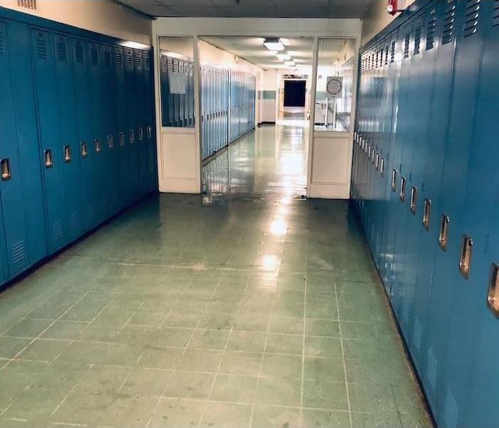 School hallway lined with lockers