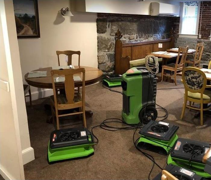 SERVPRO restoration equipment being used in room
